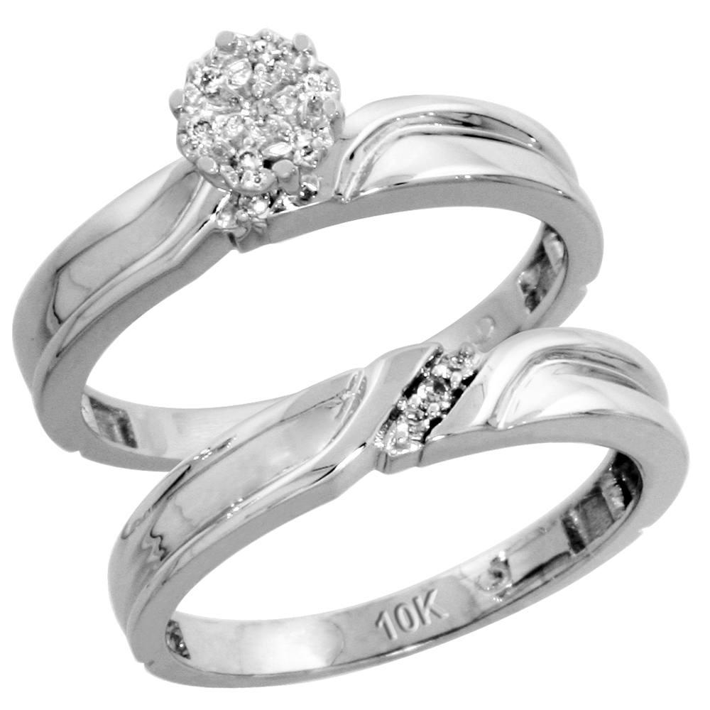 10k White Gold Diamond Engagement Ring Set 2-Piece 0.07 cttw Brilliant Cut, 1/8 inch 3.5mm wide