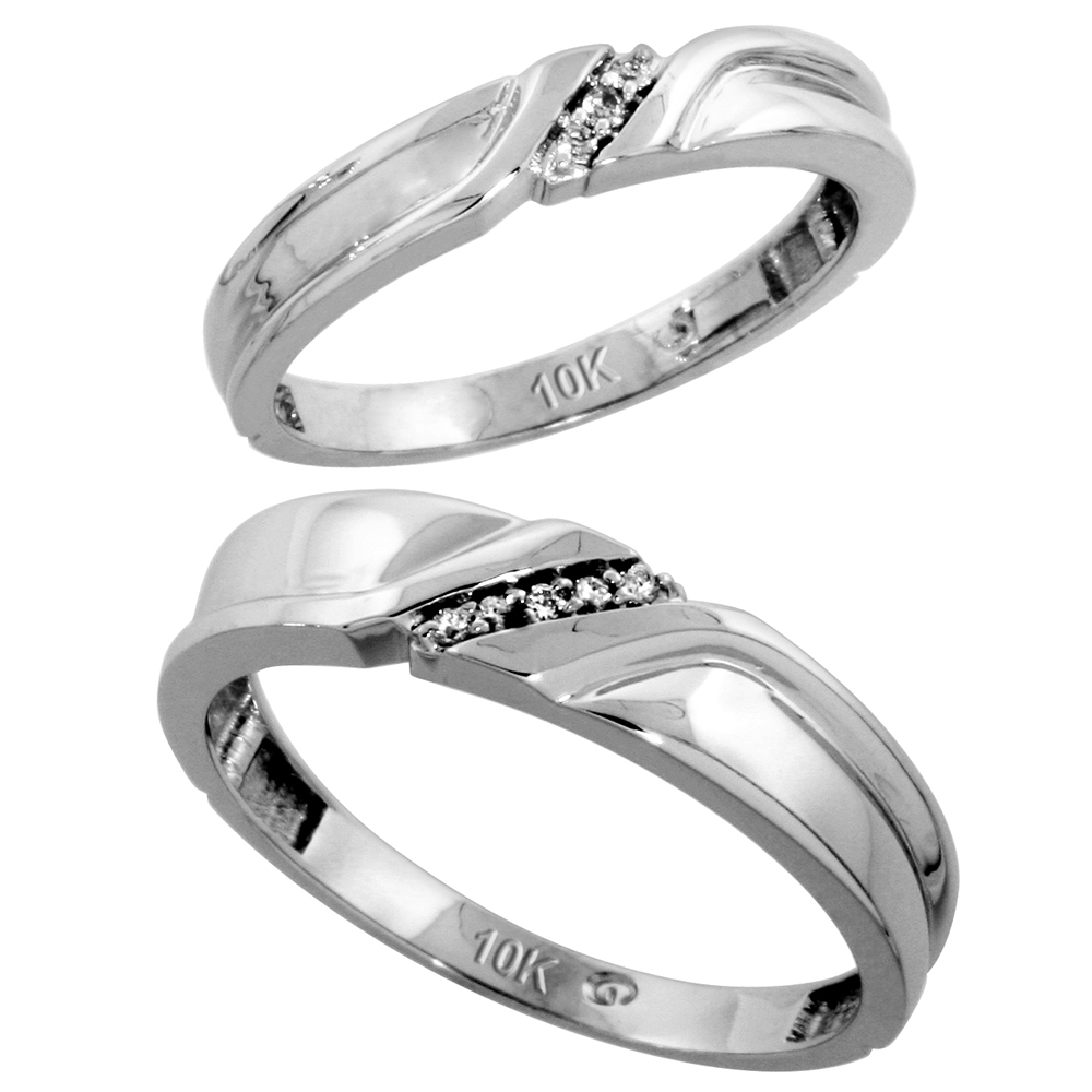 10k White Gold Diamond Wedding Rings Set for him 5 mm and her 3.5 mm 2-Piece 0.06 cttw Brilliant Cut, ladies sizes 5 � 10, mens sizes 8 - 14