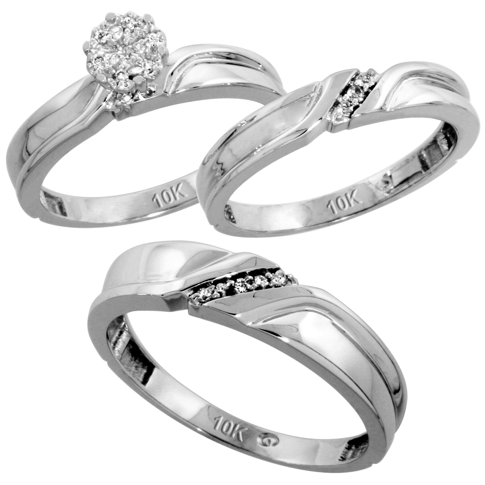 10k White Gold Diamond Trio Wedding Ring Set 3-piece His & Hers 5 & 3.5 mm 0.11 cttw, sizes 5  14