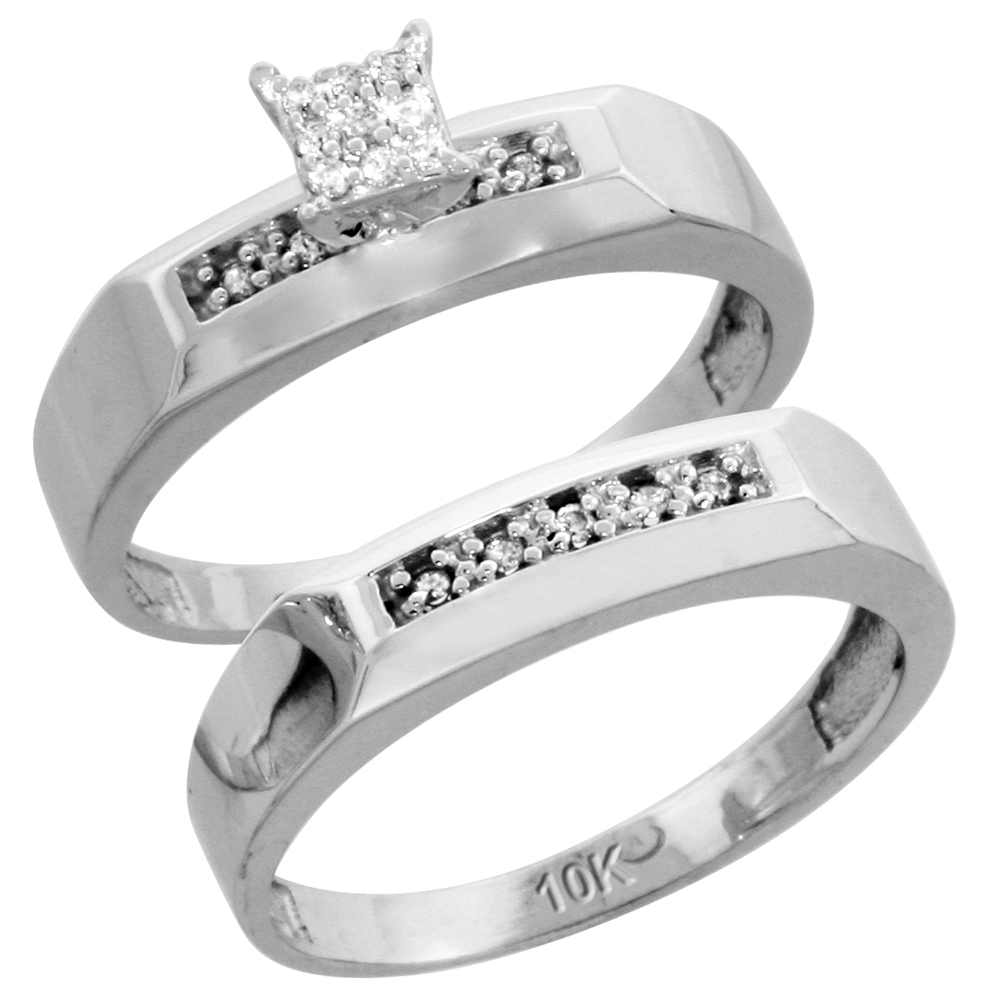 10k White Gold Diamond Engagement Ring Set 2-Piece 0.10 cttw Brilliant Cut, 3/16 inch 4.5mm wide