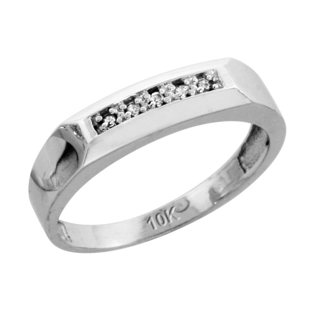 10k White Gold Ladies Diamond Wedding Band Ring 0.03 cttw Brilliant Cut, 3/16 inch 4.5mm wide