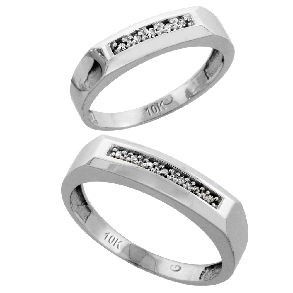 10k White Gold Diamond Wedding Rings Set for him 5 mm and her 4.5 mm 2-Piece 0.07 cttw Brilliant Cut, ladies sizes 5 � 10, mens sizes 8 - 14