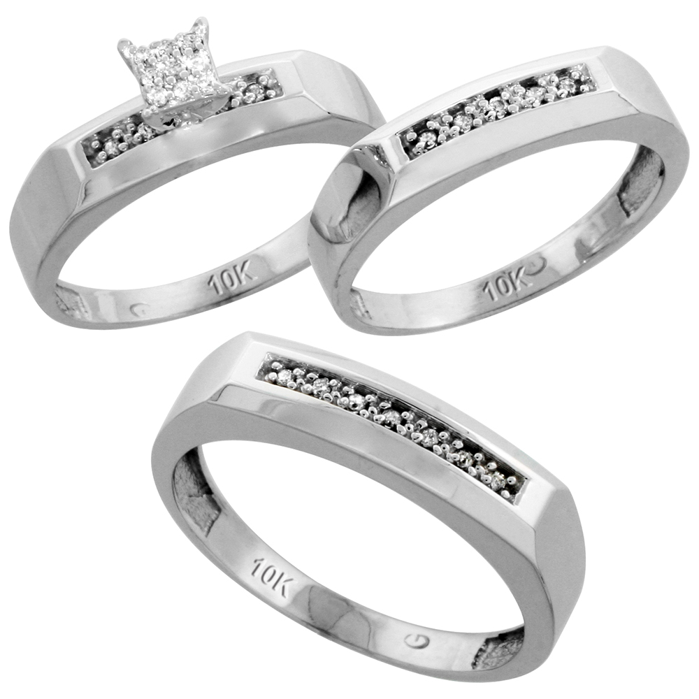 10k White Gold Diamond Trio Wedding Ring Set 3-piece His & Hers 5 & 4.5 mm, 0.14 cttw, sizes 5  14