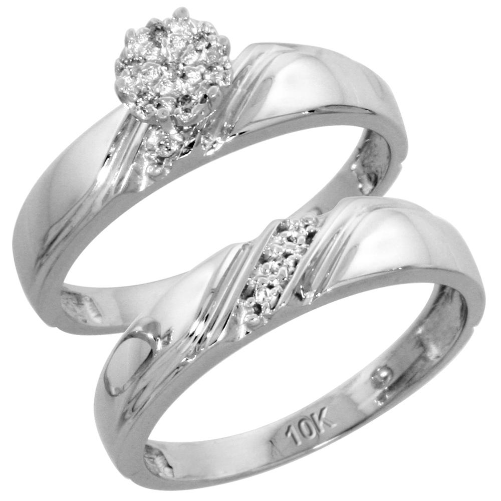 10k White Gold Diamond Engagement Ring Set 2-Piece 0.07 cttw Brilliant Cut, 3/16 inch 4.5mm wide