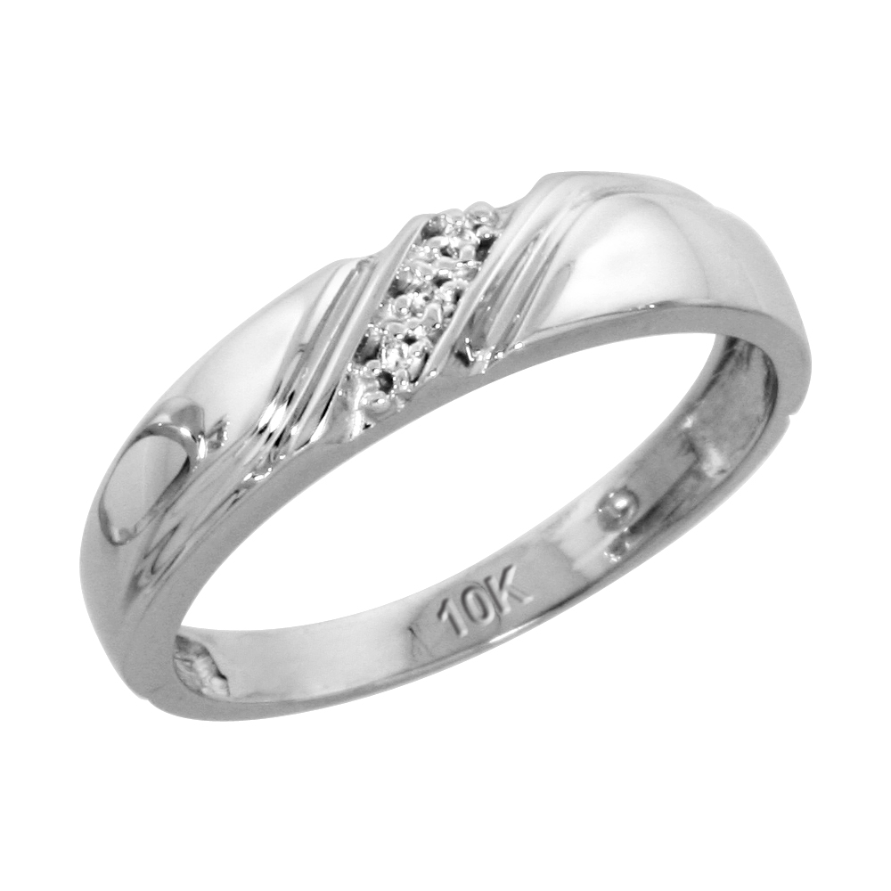 10k White Gold Ladies Diamond Wedding Band Ring 0.02 cttw Brilliant Cut, 3/16 inch 4.5mm wide