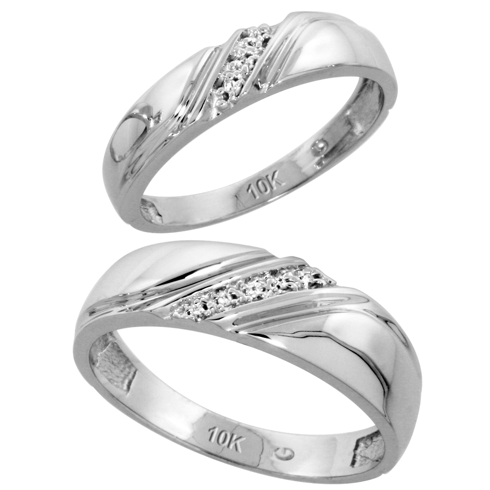 10k White Gold Diamond Wedding Rings Set for him 6 mm and her 4.5 mm 2-Piece 0.05 cttw Brilliant Cut, ladies sizes 5 � 10, mens sizes 8 - 14