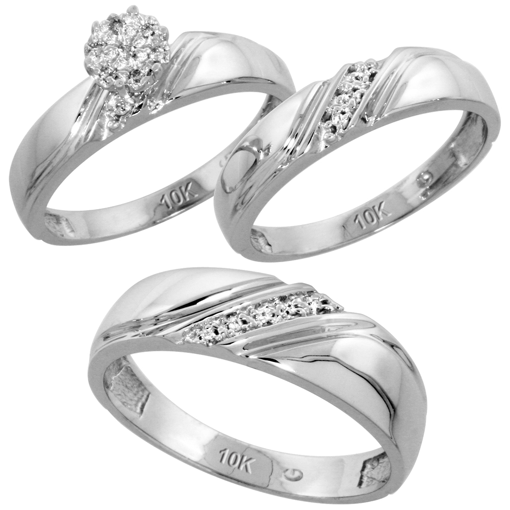 10k White Gold Diamond Trio Wedding Ring Set 3-piece His & Hers 6 & 4.5 mm 0.10 cttw, sizes 5  14