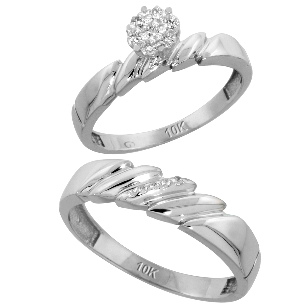 10k White Gold Diamond Engagement Rings Set for Men and Women 2-Piece 0.08 cttw Brilliant Cut, 4mm & 5mm wide