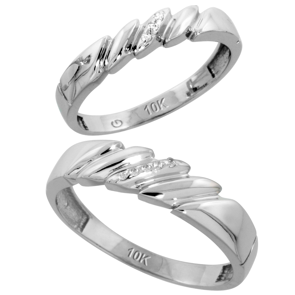 10k White Gold Diamond Wedding Rings Set for him 5 mm and her 4 mm 2-Piece 0.05 cttw Brilliant Cut, ladies sizes 5 � 10, mens sizes 8 - 14