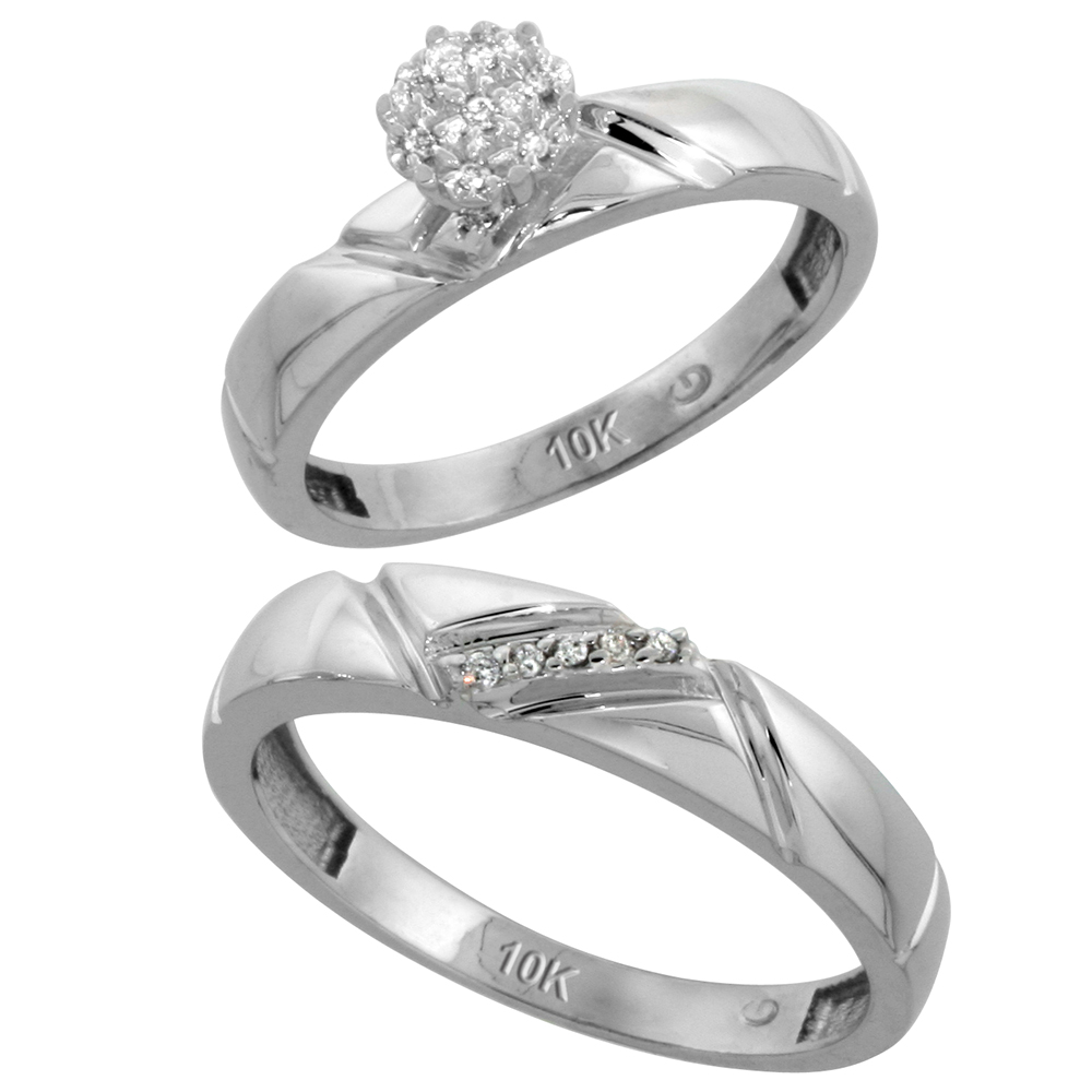 10k White Gold Diamond Engagement Rings Set for Men and Women 2-Piece 0.08 cttw Brilliant Cut, 4mm & 4.5mm wide