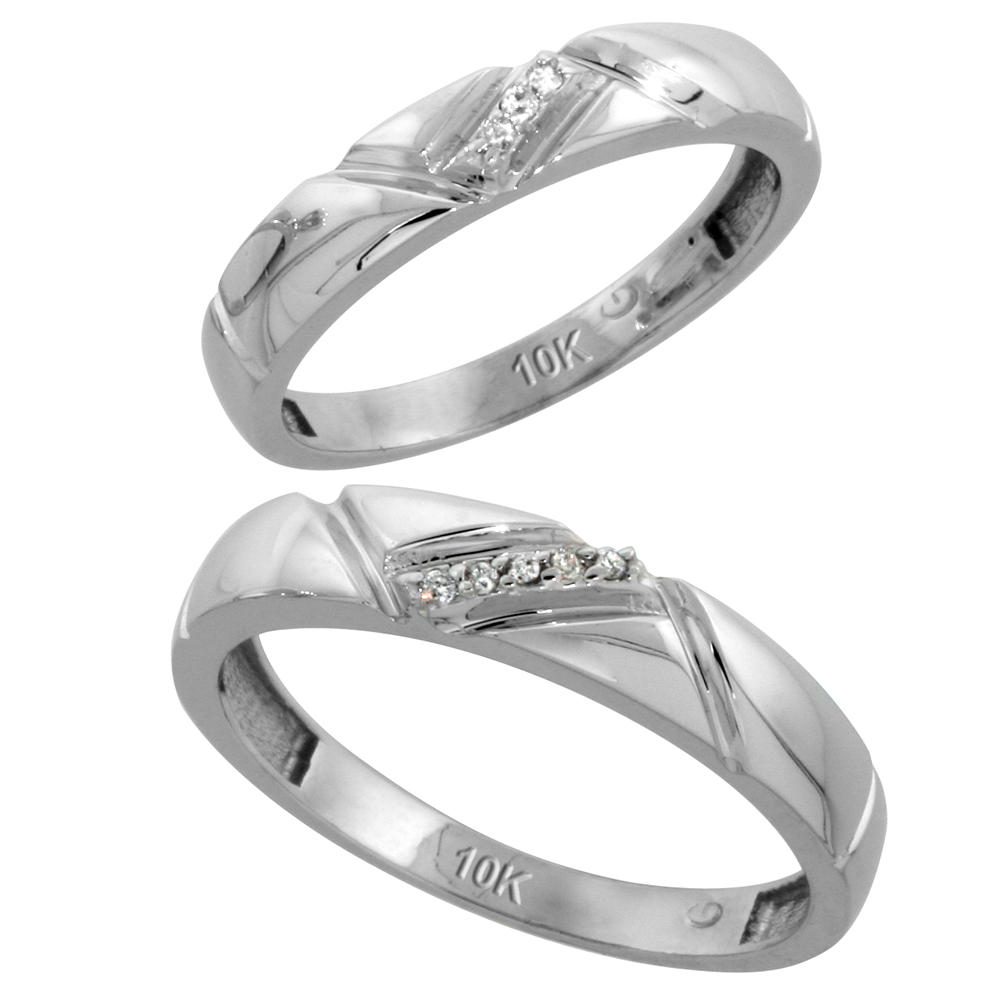 10k White Gold Diamond Wedding Rings Set for him 4.5 mm and her 4 mm 2-Piece 0.05 cttw Brilliant Cut, ladies sizes 5 � 10, mens sizes 8 - 14
