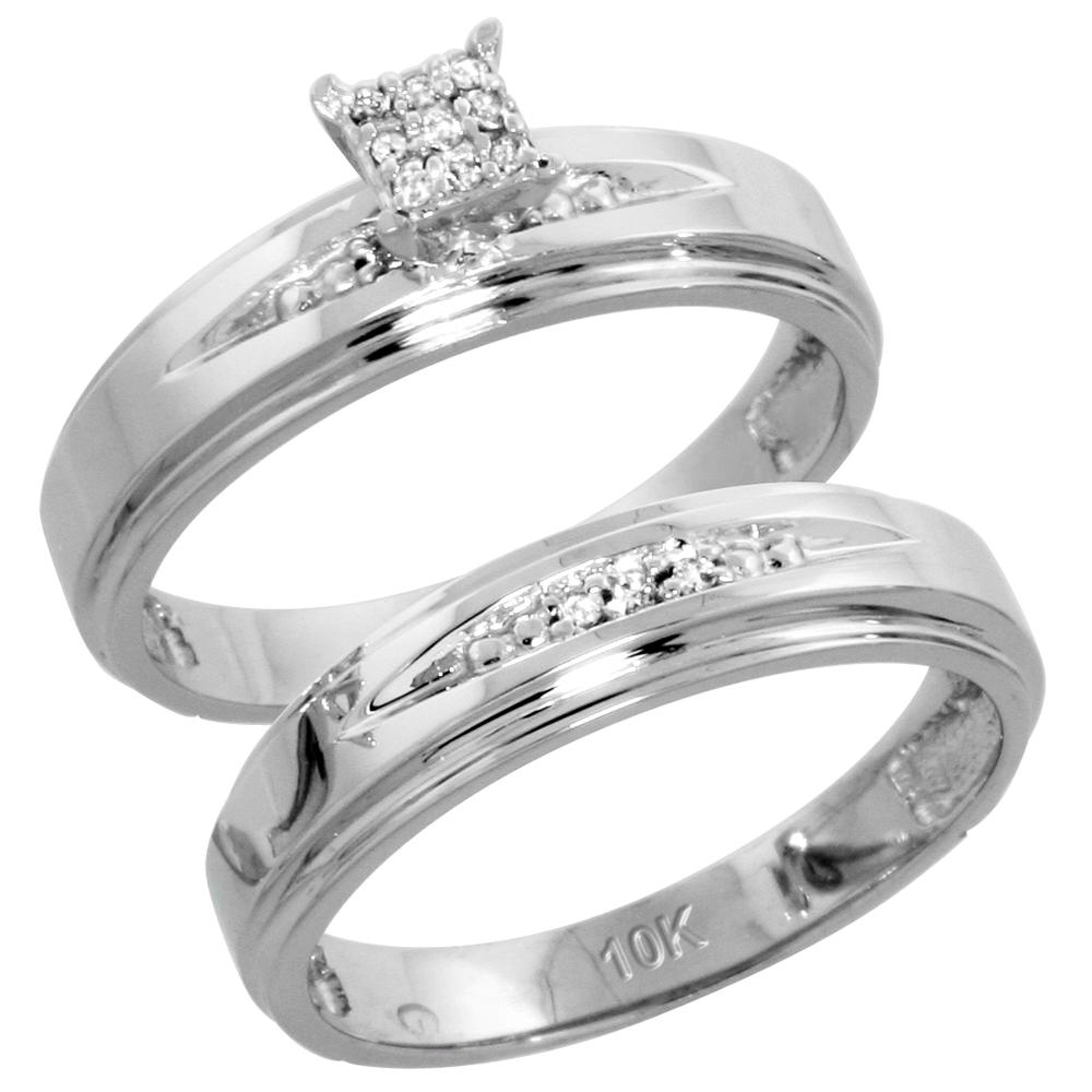 10k White Gold Diamond Engagement Ring Set 2-Piece 0.08 cttw Brilliant Cut, 3/16 inch 5mm wide