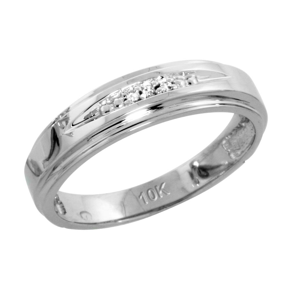 10k White Gold Ladies Diamond Wedding Band Ring 0.02 cttw Brilliant Cut, 3/16 inch 5mm wide