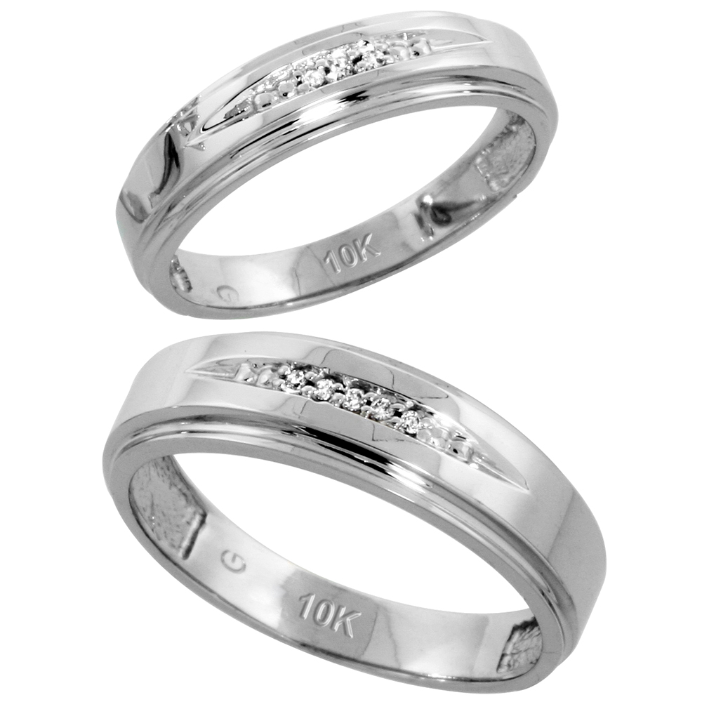 10k White Gold Diamond Wedding Rings Set for him 6 mm and her 5 mm 2-Piece 0.05 cttw Brilliant Cut, ladies sizes 5 � 10, mens sizes 8 - 14