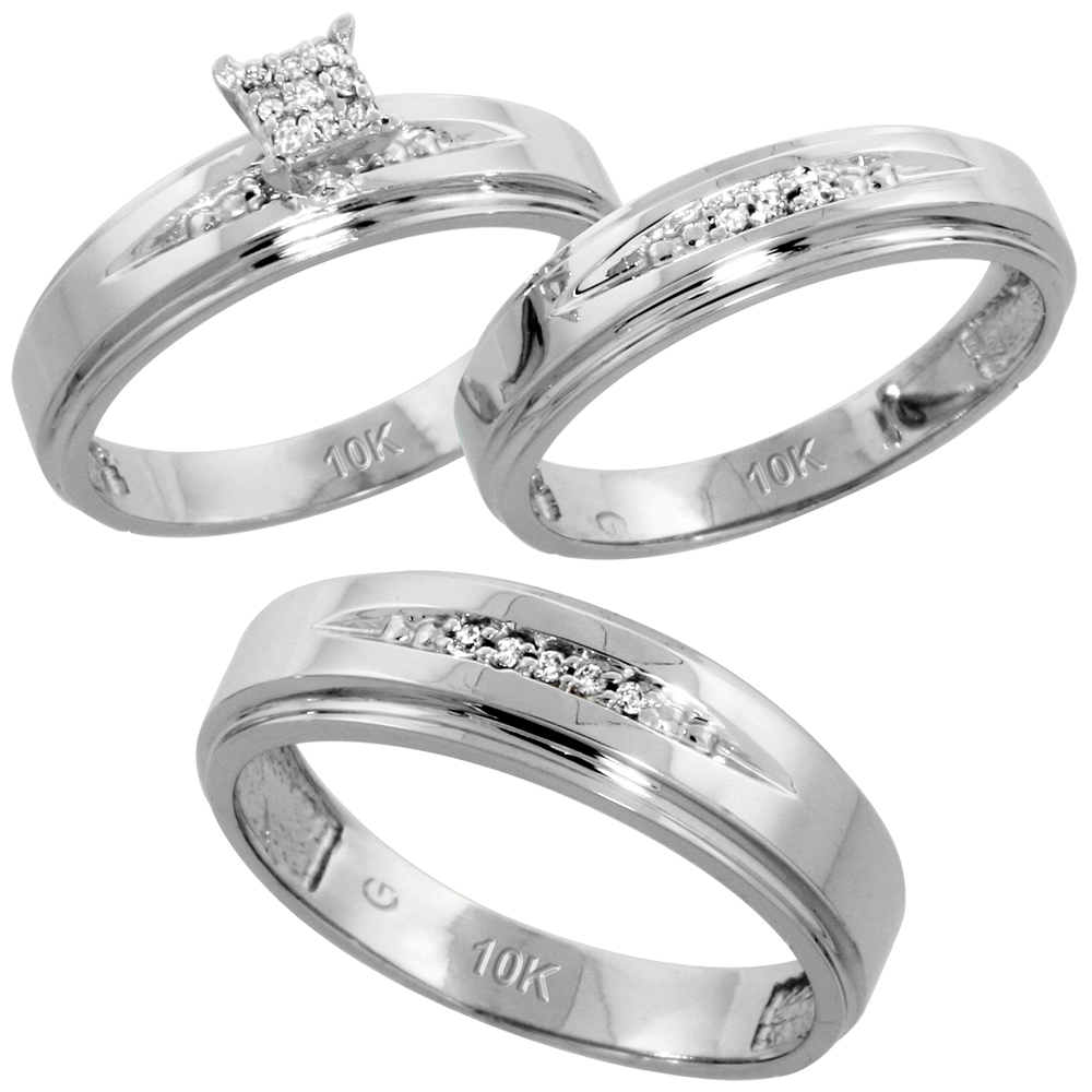10k White Gold Diamond Trio Wedding Ring Set 3-piece His & Hers 6 & 5 mm 0.11 cttw, sizes 5  14