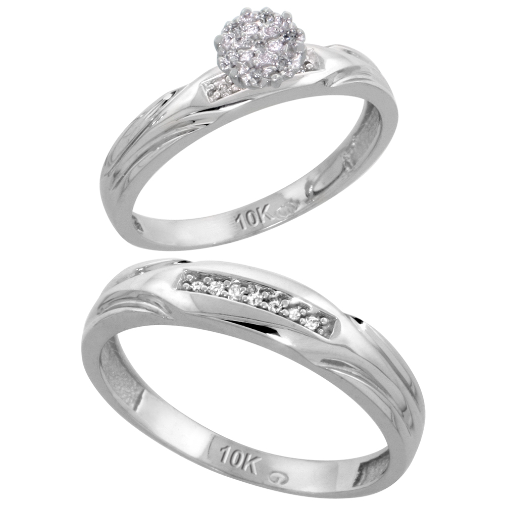 10k White Gold Diamond Engagement Rings Set for Men and Women 2-Piece 0.10 cttw Brilliant Cut, 3.5mm & 4.5mm wide
