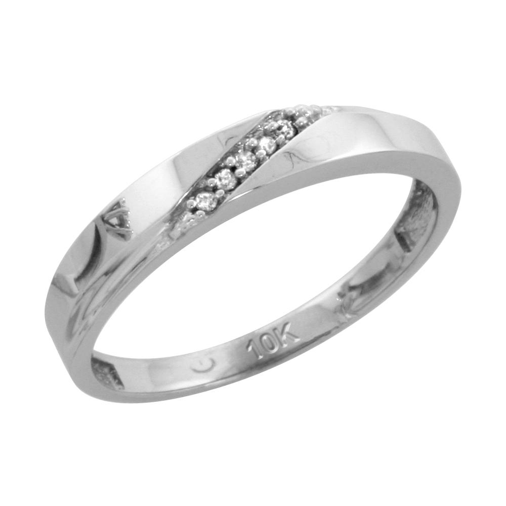 10k White Gold Ladies Diamond Wedding Band Ring 0.03 cttw Brilliant Cut, 1/8 inch 3.5mm wide