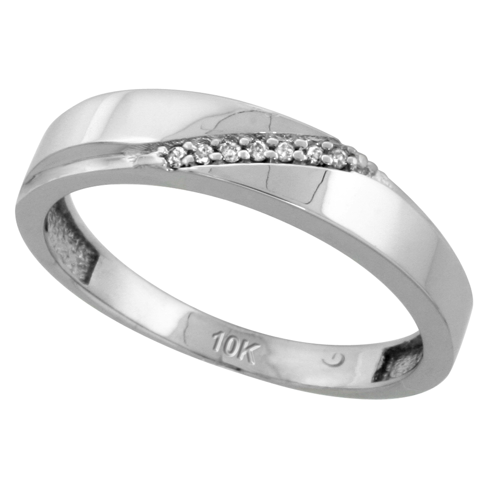 10k White Gold Mens Diamond Wedding Band Ring 0.04 cttw Brilliant Cut, 3/16 inch 4.5mm wide