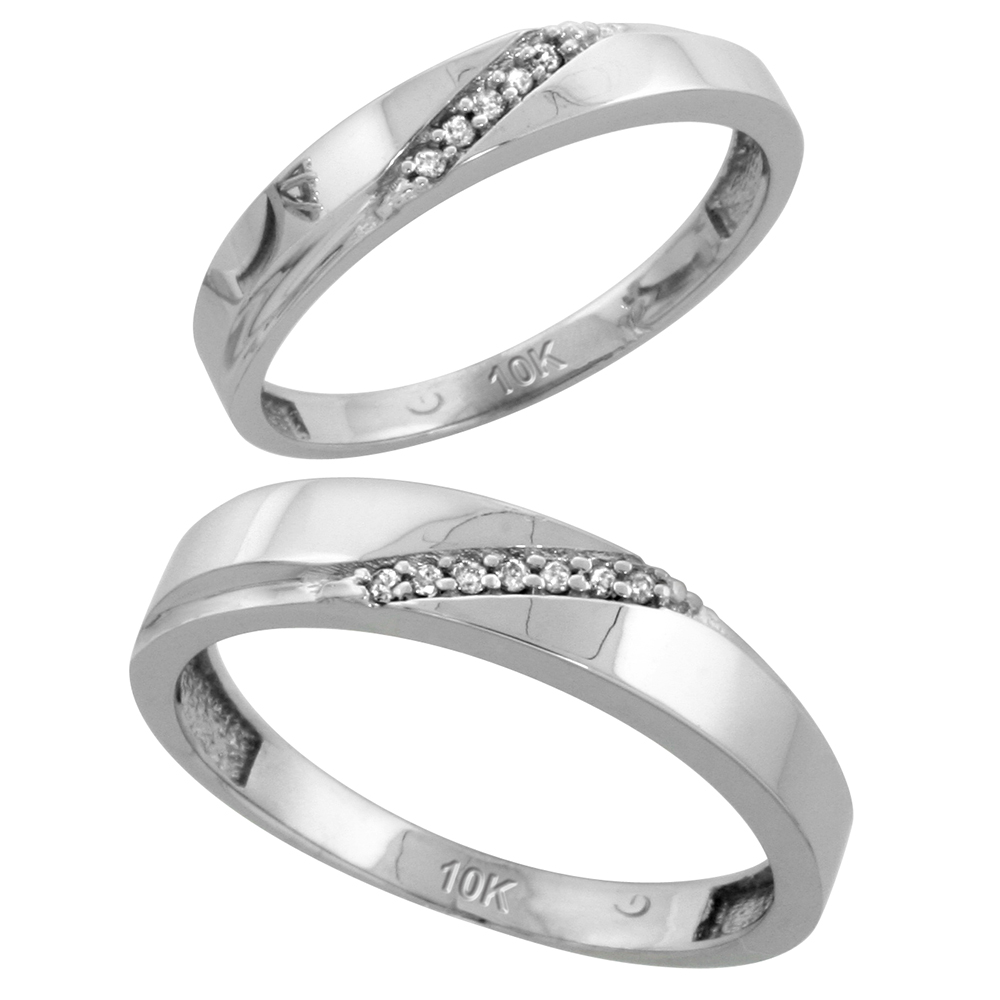 10k White Gold Diamond Wedding Rings Set for him 4.5 mm and her 3.5 mm 2-Piece 0.07 cttw Brilliant Cut, ladies sizes 5 � 10, mens sizes 8 - 14