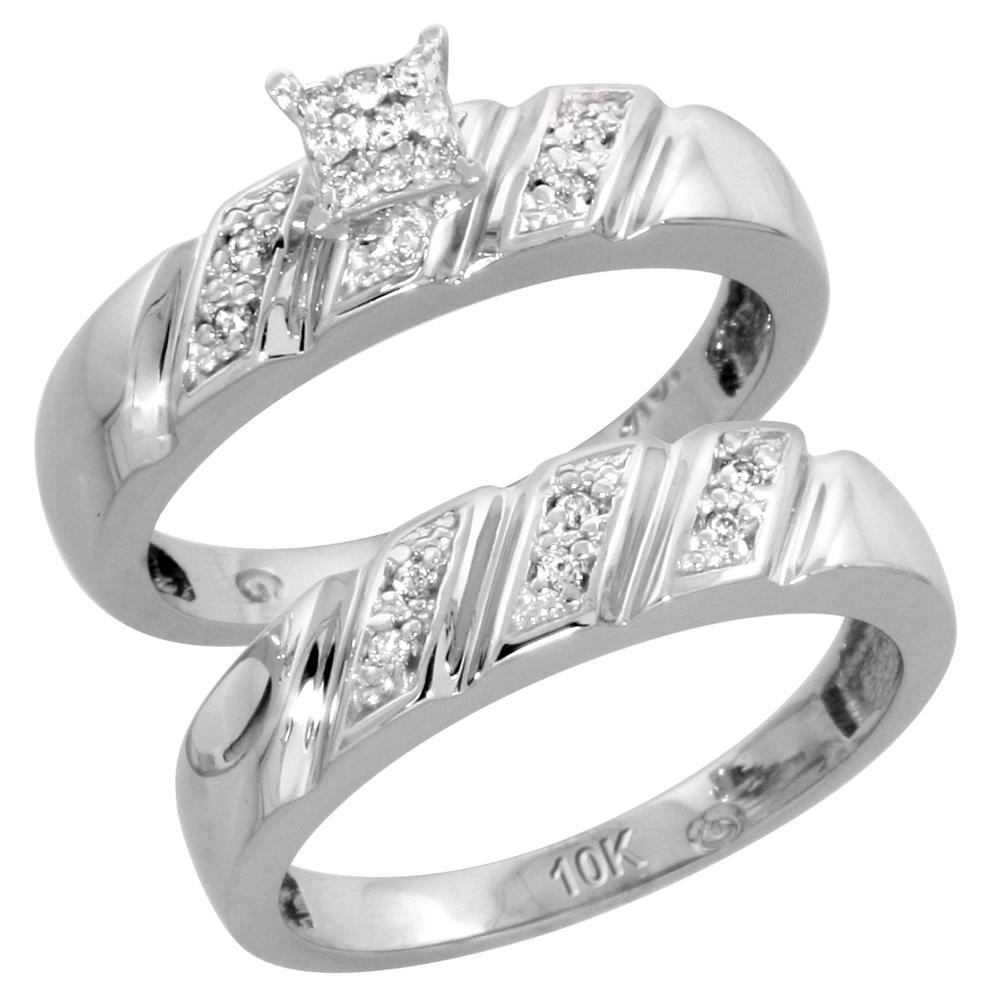10k White Gold Diamond Engagement Ring Set 2-Piece 0.10 cttw Brilliant Cut, 3/16 inch 5mm wide