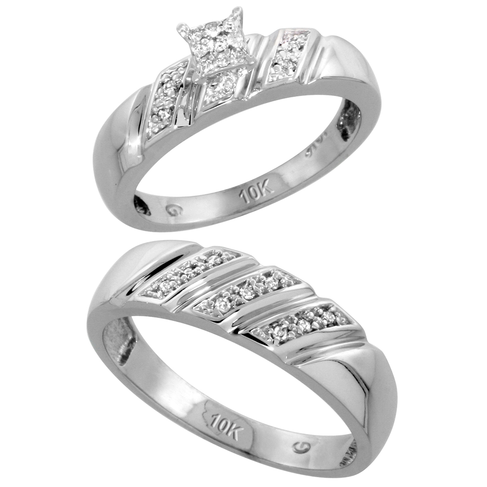10k White Gold Diamond Engagement Rings Set for Men and Women 2-Piece 0.12 cttw Brilliant Cut, 5mm & 6mm wide