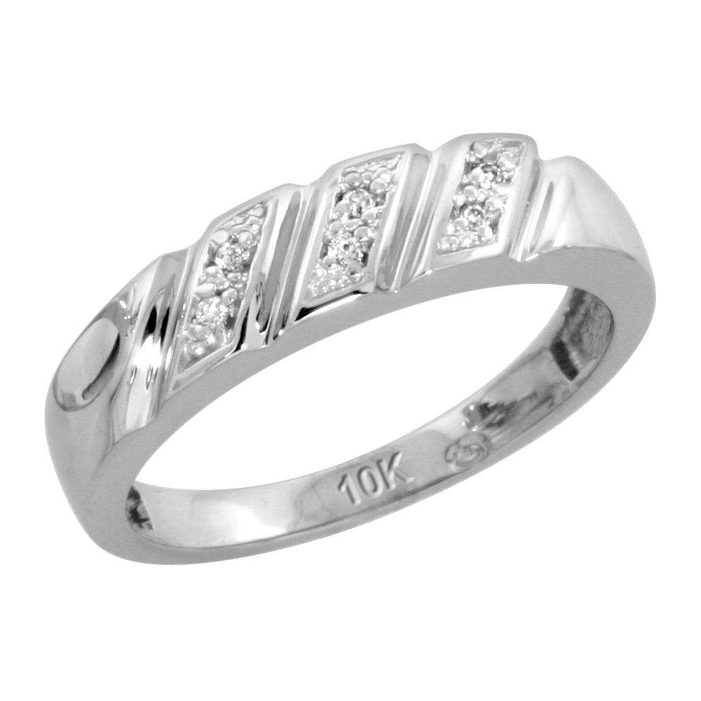 10k White Gold Ladies Diamond Wedding Band Ring 0.03 cttw Brilliant Cut, 3/16 inch 5mm wide