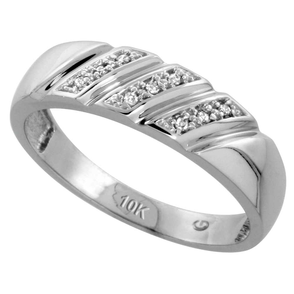 10k White Gold Mens Diamond Wedding Band Ring 0.05 cttw Brilliant Cut, 1/4 inch 6mm wide