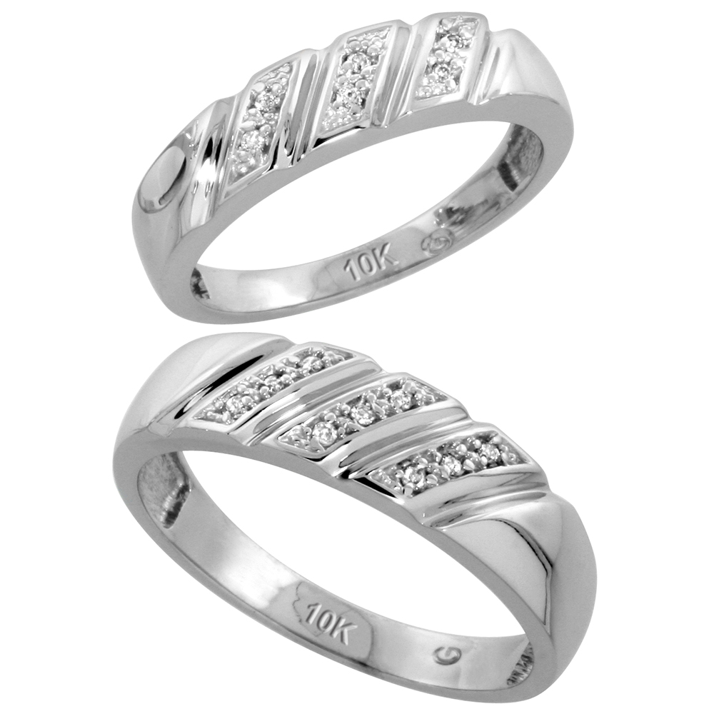 10k White Gold Diamond Wedding Rings Set for him 6 mm and her 5 mm 2-Piece 0.08 cttw Brilliant Cut, ladies sizes 5 � 10, mens sizes 8 - 14