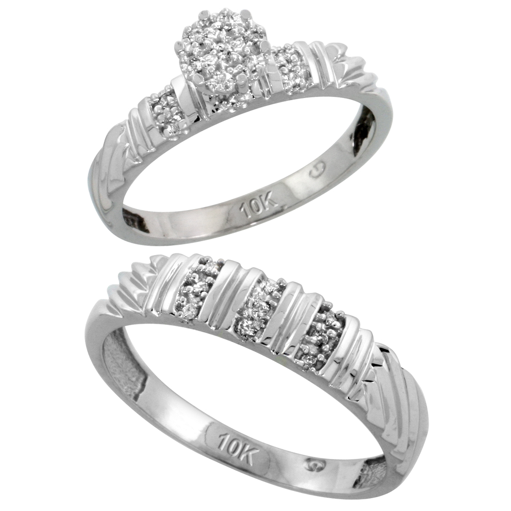 10k White Gold Diamond Engagement Rings Set for Men and Women 2-Piece 0.11 cttw Brilliant Cut, 3.5mm & 5mm wide