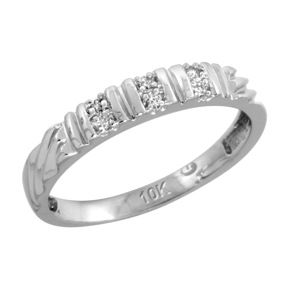 10k White Gold Ladies Diamond Wedding Band Ring 0.03 cttw Brilliant Cut, 1/8 inch 3.5mm wide