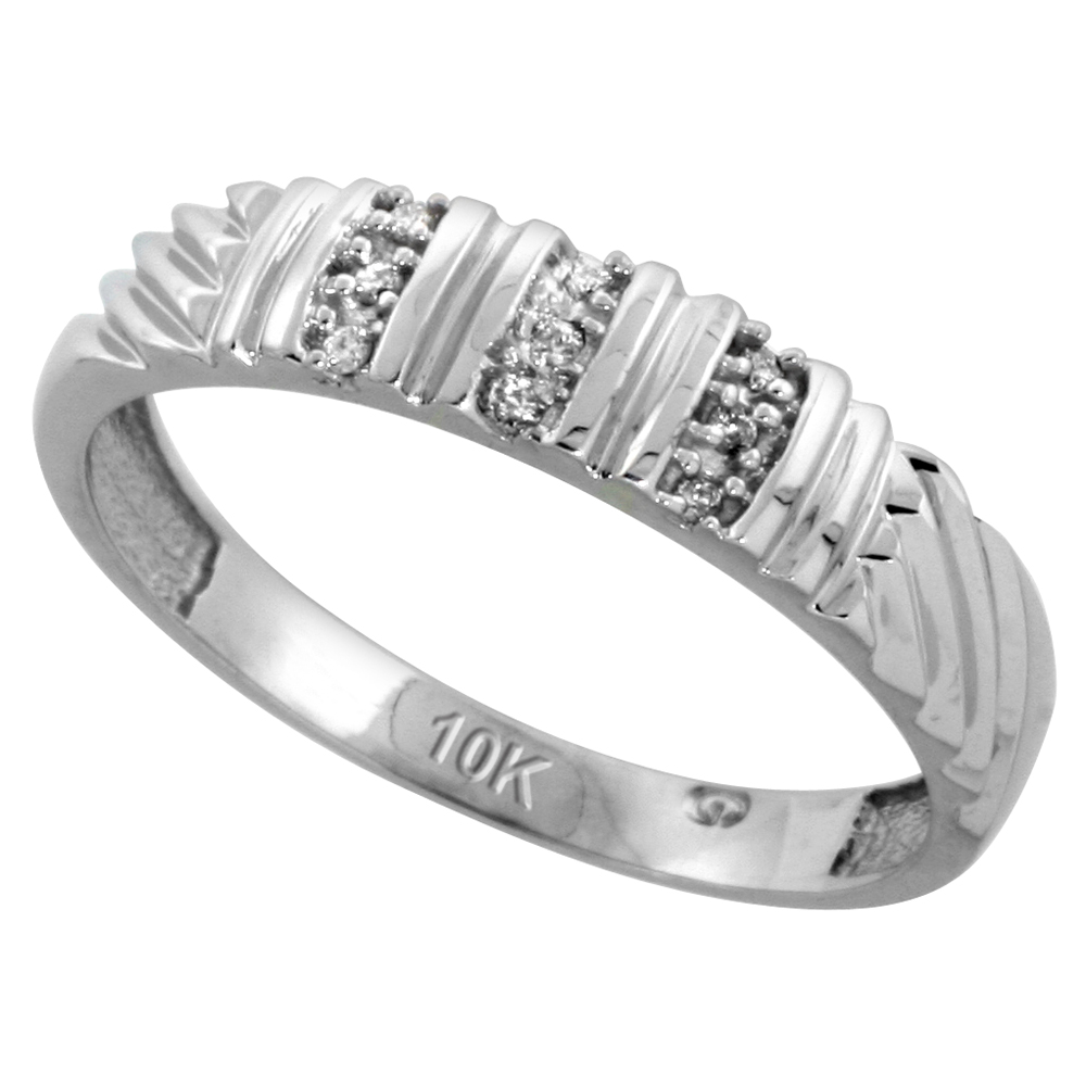 10k White Gold Mens Diamond Wedding Band Ring 0.05 cttw Brilliant Cut, 3/16 inch 5mm wide