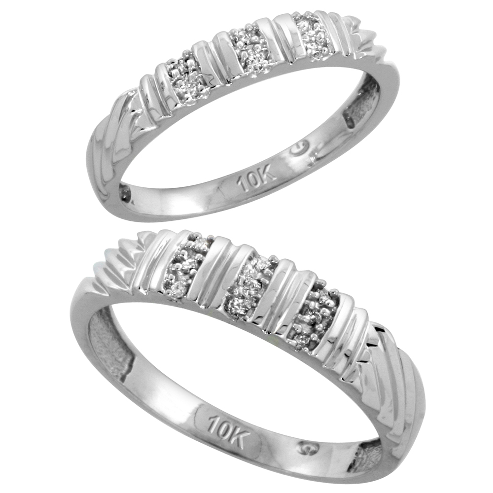 10k White Gold Diamond Wedding Rings Set for him 5 mm and her 3.5 mm 2-Piece 0.08 cttw Brilliant Cut, ladies sizes 5 � 10, mens sizes 8 - 14