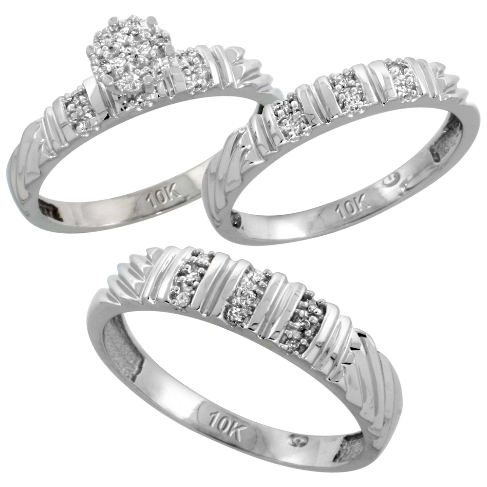 10k White Gold Diamond Trio Wedding Ring Set 3-piece His & Hers 5 & 3.5 mm 0.14 cttw, sizes 5  14
