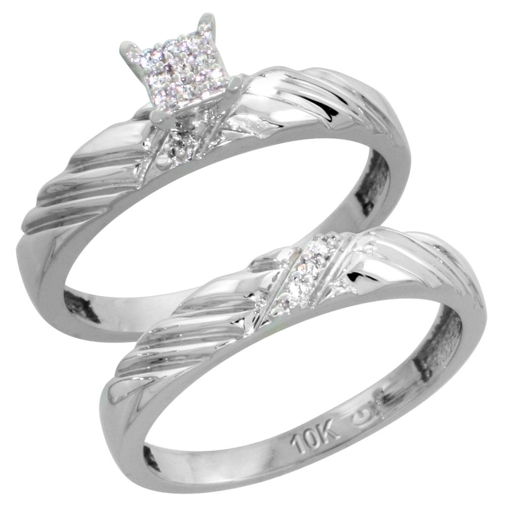 10k White Gold Diamond Engagement Ring Set 2-Piece 0.08 cttw Brilliant Cut, 1/8 inch 3.5mm wide