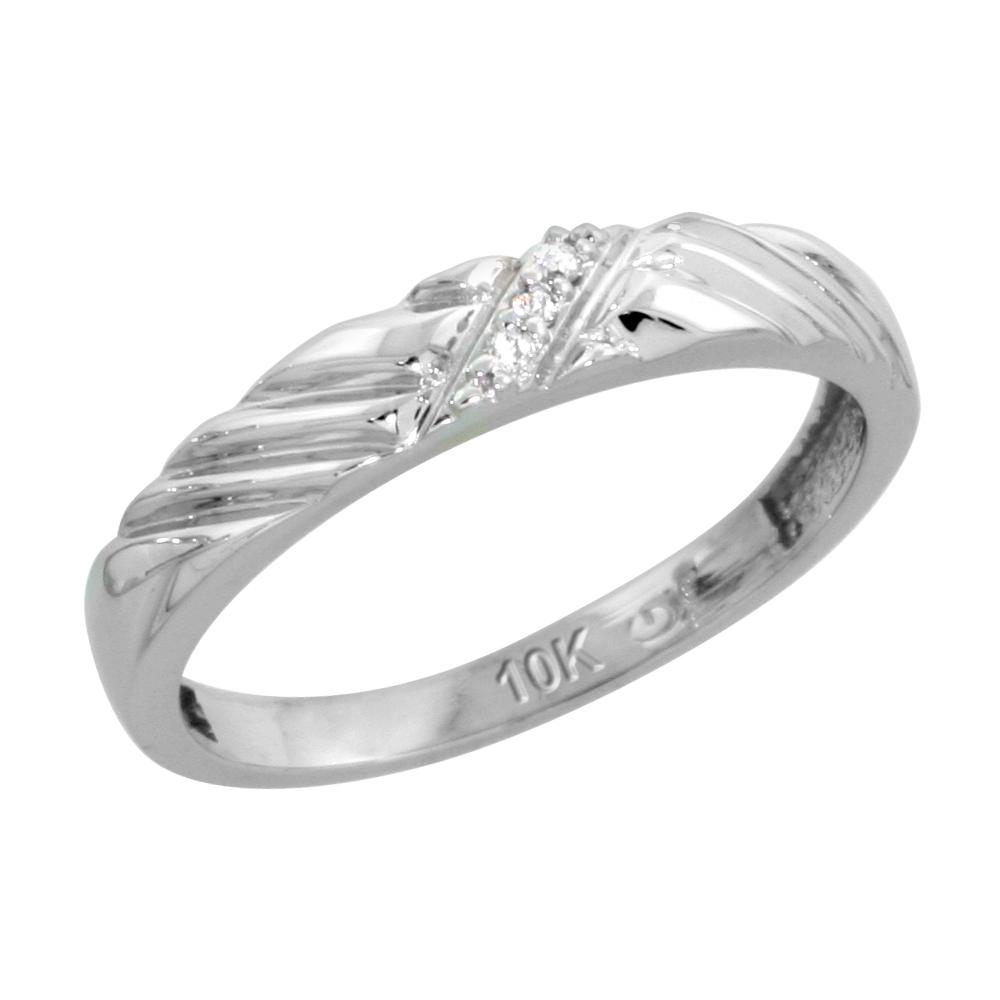 10k White Gold Ladies Diamond Wedding Band Ring 0.02 cttw Brilliant Cut, 1/8 inch 3.5mm wide