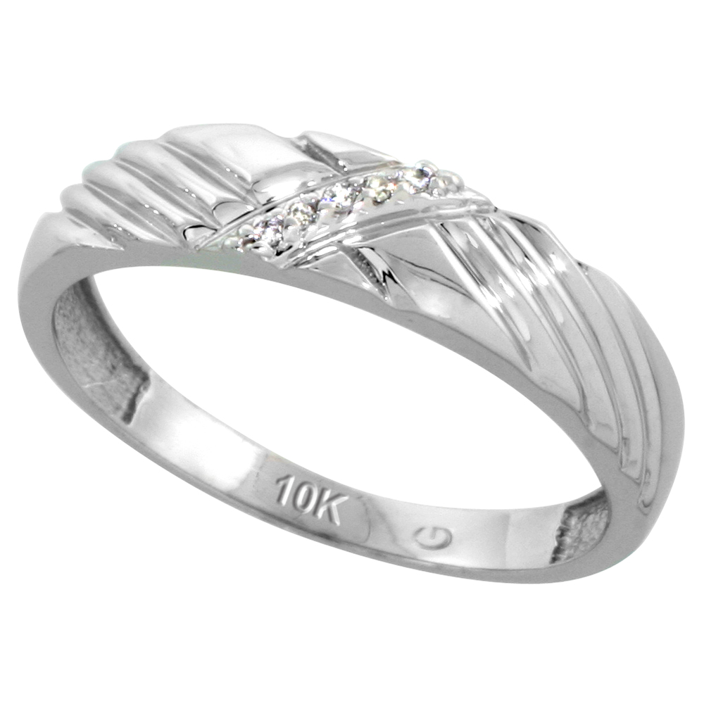 10k White Gold Mens Diamond Wedding Band Ring 0.03 cttw Brilliant Cut, 3/16 inch 5mm wide