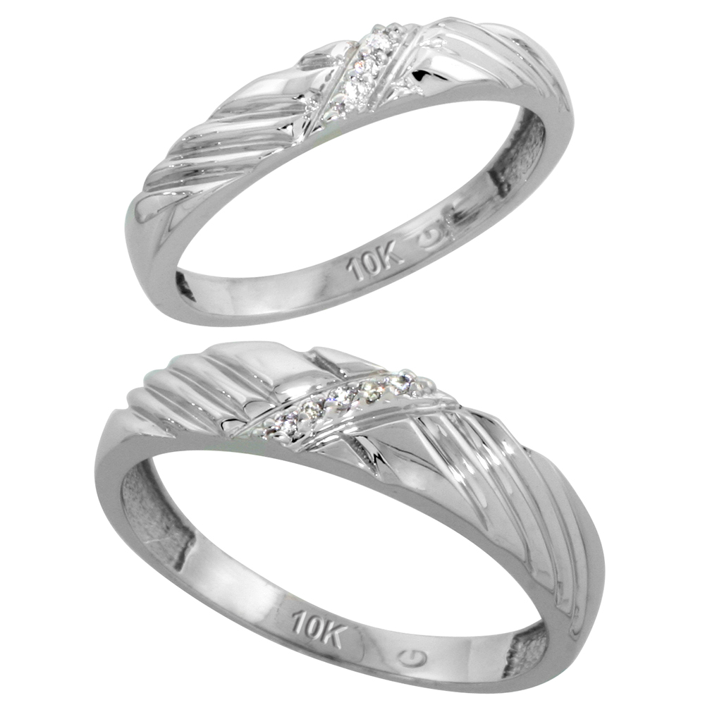 10k White Gold Diamond Wedding Rings Set for him 5 mm and her 3.5 mm 2-Piece 0.05 cttw Brilliant Cut, ladies sizes 5 � 10, mens sizes 8 - 14