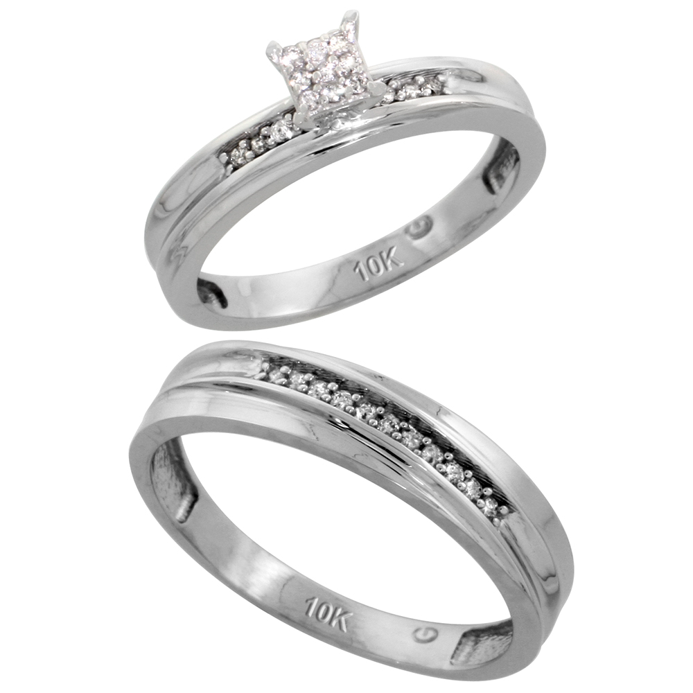 10k White Gold Diamond Engagement Rings Set for Men and Women 2-Piece 0.10 cttw Brilliant Cut, 4 mm & 3.5 mm wide