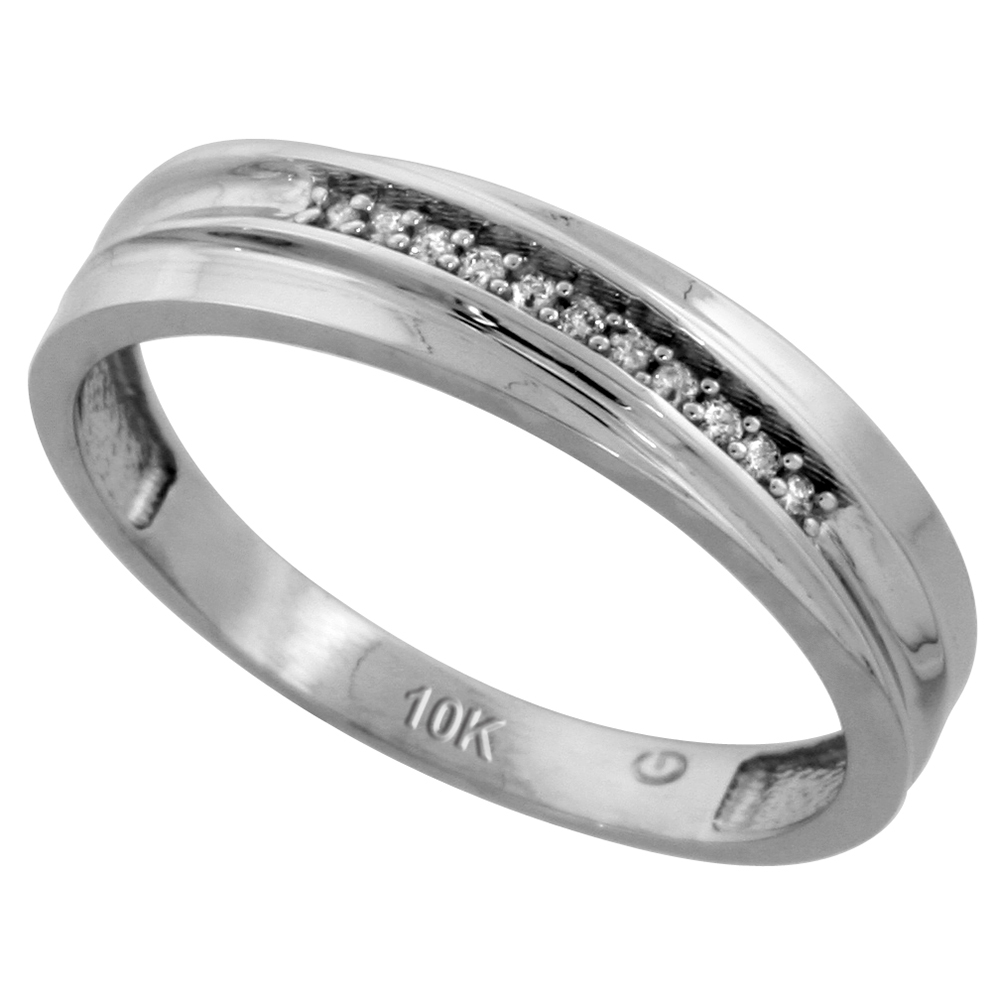 10k White Gold Mens Diamond Wedding Band Ring 0.04 cttw Brilliant Cut, 3/16 inch 5mm wide