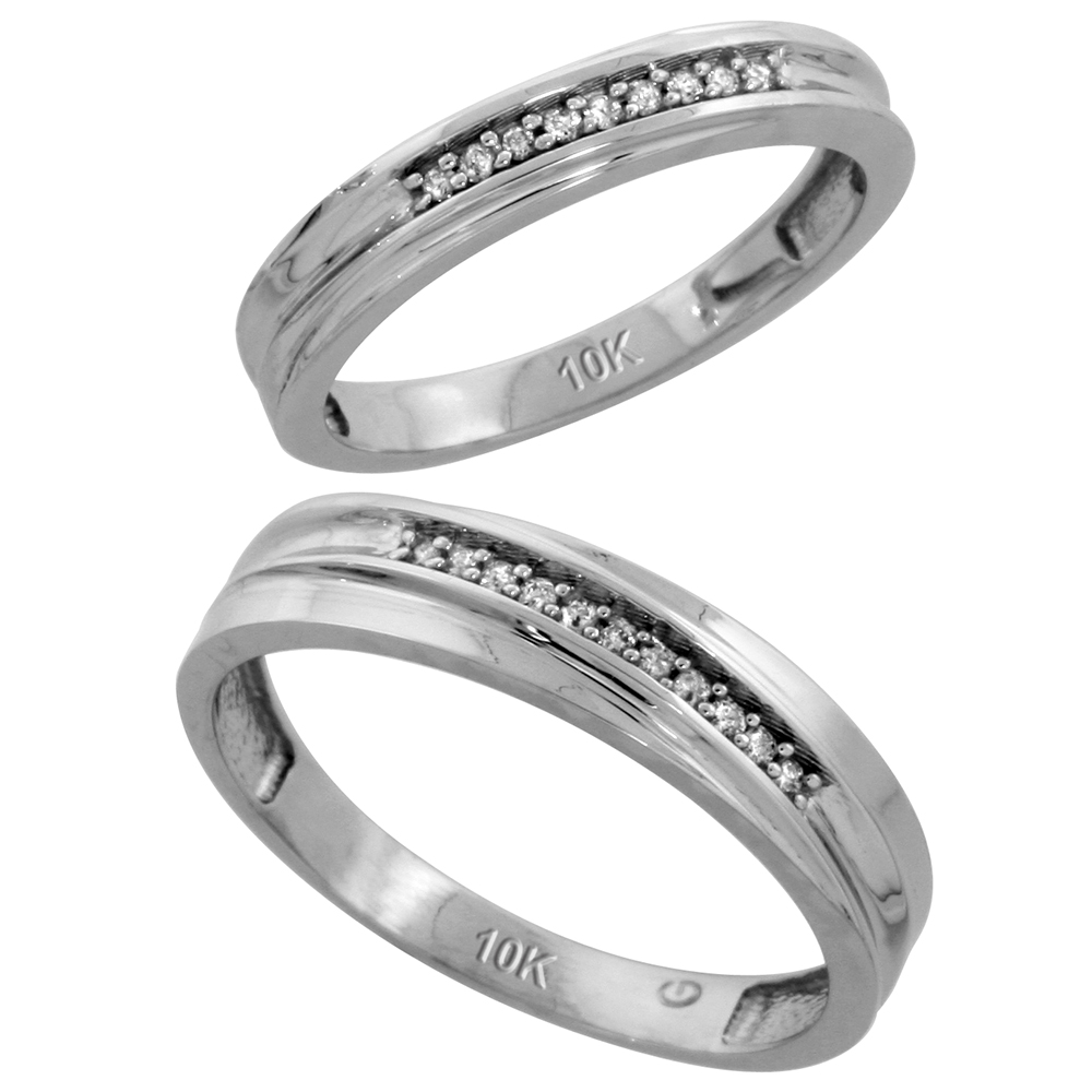 10k White Gold Diamond Wedding Rings Set for him 5 mm and her 3.5 mm 2-Piece 0.07 cttw Brilliant Cut, ladies sizes 5 � 10, mens sizes 8 - 14