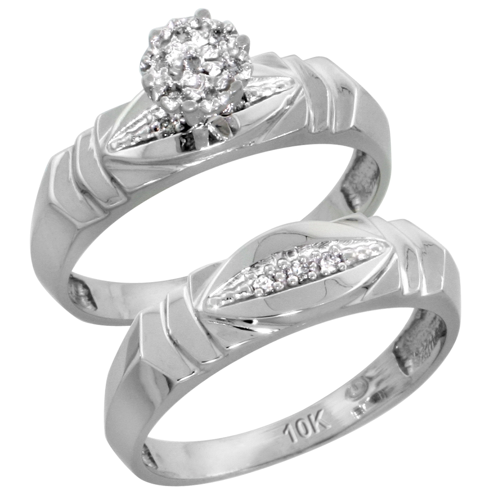 10k White Gold Diamond Engagement Ring Set 2-Piece 0.06 cttw Brilliant Cut, 3/16 inch 5mm wide