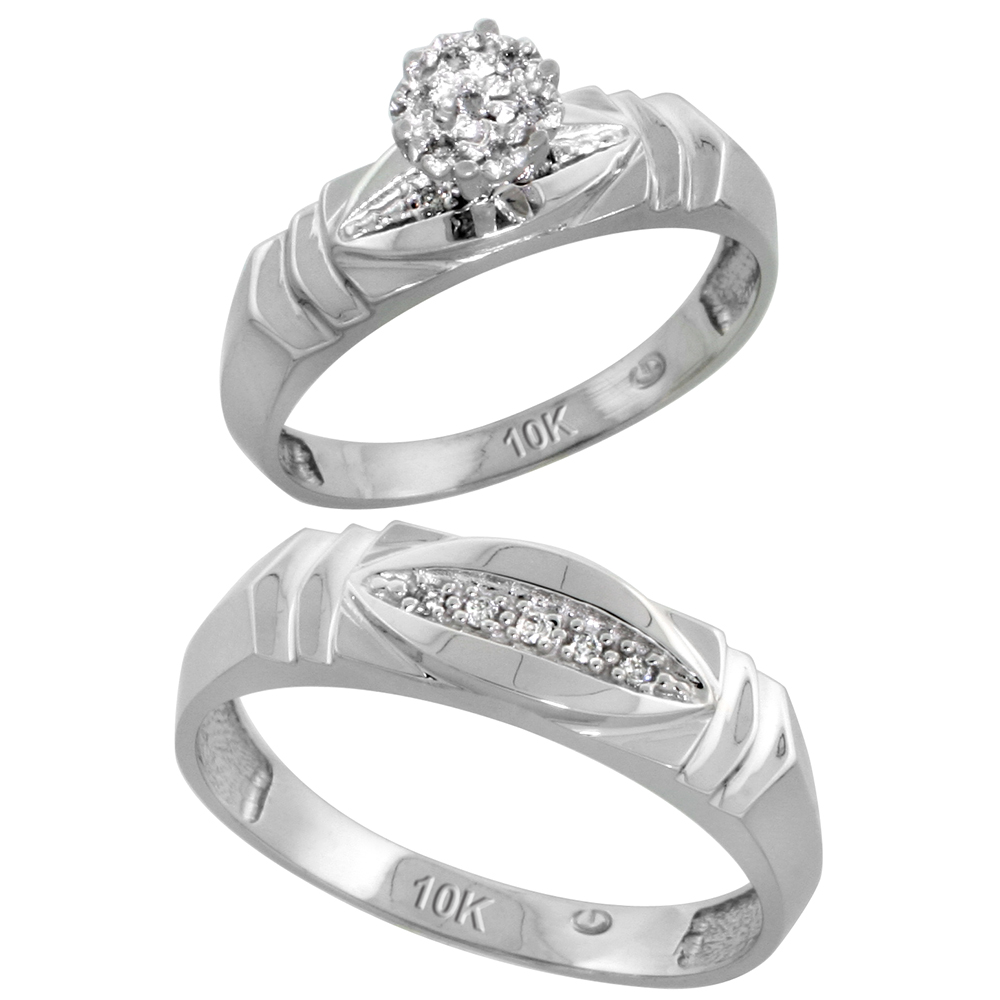 10k White Gold Diamond Engagement Rings Set for Men and Women 2-Piece 0.07 cttw Brilliant Cut, 5mm & 6mm wide