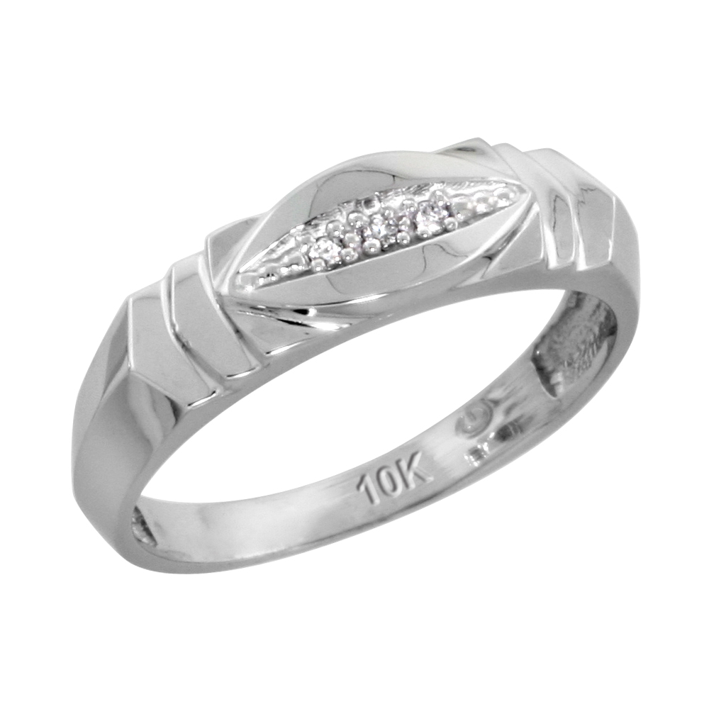 10k White Gold Ladies Diamond Wedding Band Ring 0.02 cttw Brilliant Cut, 3/16 inch 5mm wide