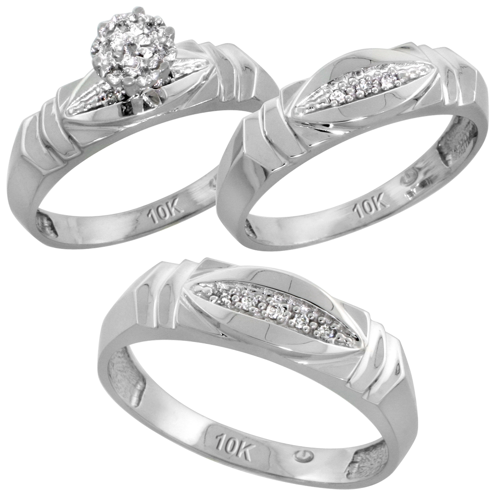 10k White Gold Diamond Trio Wedding Ring Set 3-piece His & Hers 6 & 5 mm 0.09 cttw, sizes 5  14