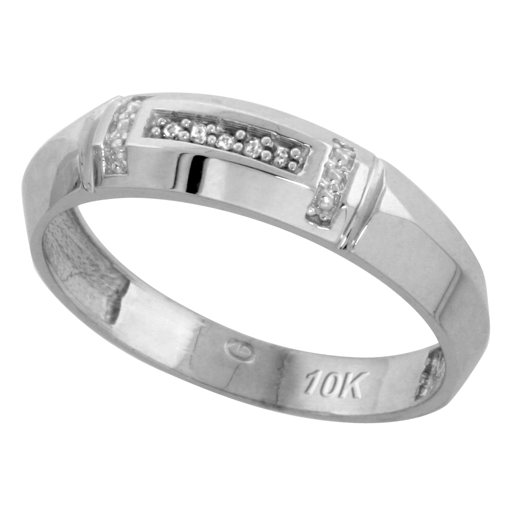 10k White Gold Mens Diamond Wedding Band Ring 0.03 cttw Brilliant Cut, 7/32 inch 5.5mm wide