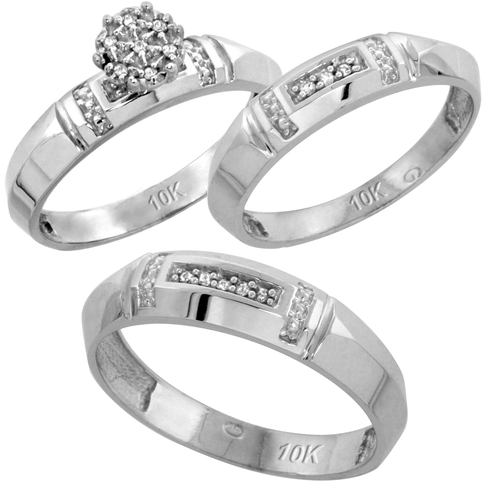 10k White Gold Diamond Trio Wedding Ring Set 3-piece His & Hers 4.5 & 4 mm 0.10 cttw, sizes 5  14