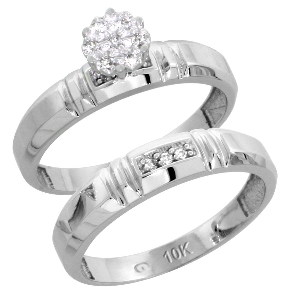 10k White Gold Diamond Engagement Ring Set 2-Piece 0.07 cttw Brilliant Cut, 5/32 inch 4mm wide