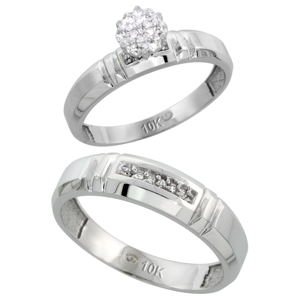 10k White Gold Diamond Engagement Rings Set for Men and Women 2-Piece 0.08 cttw Brilliant Cut, 4mm & 5.5mm wide