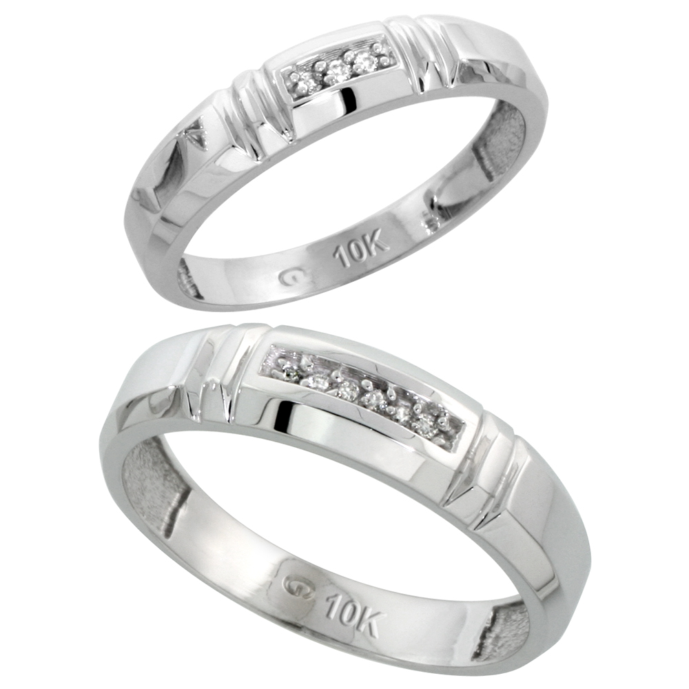 10k White Gold Diamond Wedding Rings Set for him 5.5 mm and her 4 mm 2-Piece 0.05 cttw Brilliant Cut, ladies sizes 5 � 10, mens sizes 8 - 14