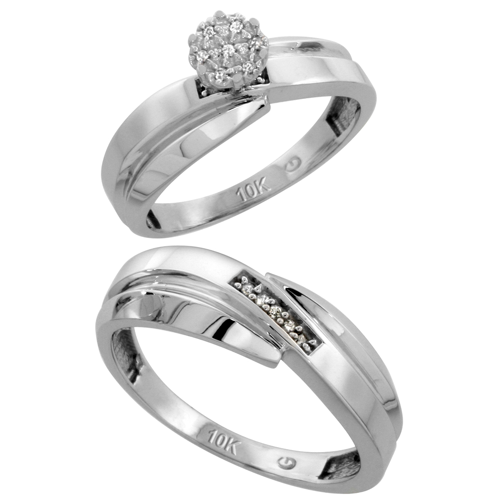 10k White Gold Diamond Engagement Rings Set for Men and Women 2-Piece 0.08 cttw Brilliant Cut, 6mm & 7mm wide